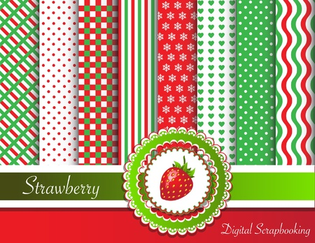 Digital scrapbooking paper swatches in red and green tones  with ribbon and sweet strawberry Vector