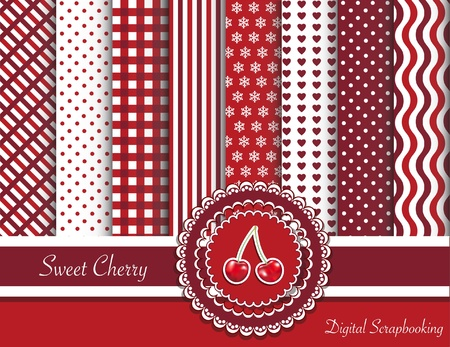 Digital scrapbooking paper swatches in red tones with ribbon and sweet cherry sticker Vector