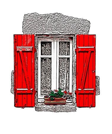 Een illustratie van een traditionele Franse rode luiken venster op een witte achtergrond. Stock Illustratie