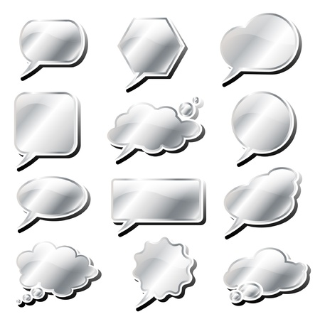 chat button: Glossy speech and think bubbles in silver with shadow.