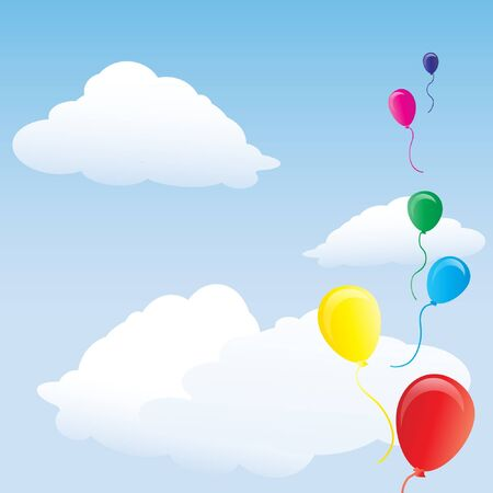 floating: Colourful balloons floating in blue sky. Space for text. EPS10 vector format. Illustration