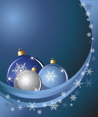 Boules de Noël sur fond abstraite avec des flocons de neige.