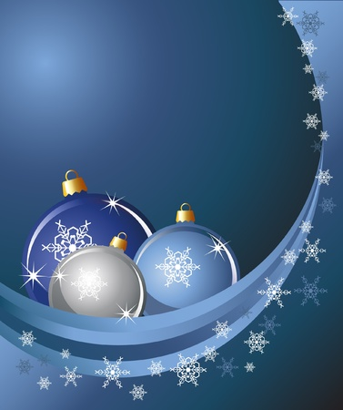 Christmas baubles on abstract background with snowflakes.  Illustration