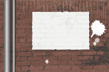 illustration of an old brick wall background with a blank poster and paint splatters. space for text. Stock Vector - 11031929