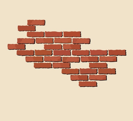 An llustration of exposed red bricks on neutral background with space for text Vector