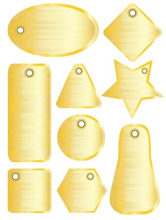 A illustration of brushed metal tags with gold finish Vector