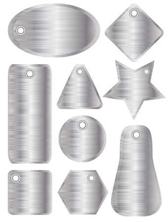 A illustration of brushed metal tags with silver finish Vector