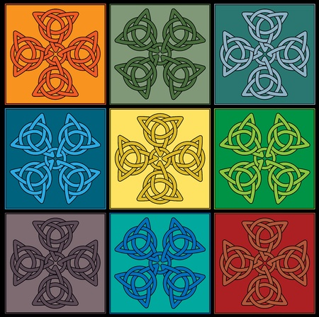 tile created of colourful Celtic Knot Crosses Vector