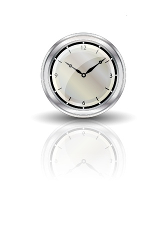 illustration of a clock with reflection on white background Vector