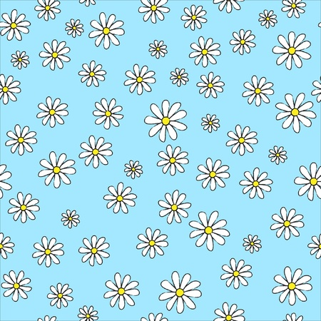 A seamless background of daisies on blue. Sketch style. Vector