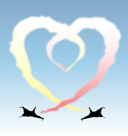 A illustration of jets leaving a vapour trail frming a heart Vector