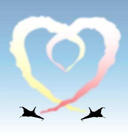 jet stream: Un ejemplo de los aviones dejando un rastro de vapor frming un corazón Vectores
