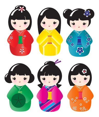 manga style: Kokeshi dolls in various designs isolated on white.