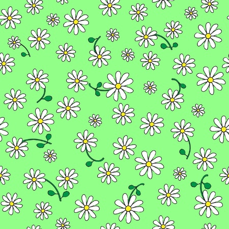 A seamless background of daisies on green. Sketch style. Vector