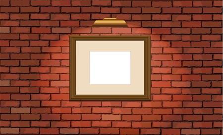 illustration of an old brick wall with a blank wooden picture frame Vector