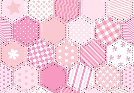 A illustration of a patchwork quilt background in shades of pink