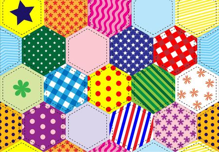 A illustration of a patchwork quilt background in bright colours