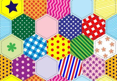 Una ilustración de un fondo de colcha de retazos de colores brillantes Ilustración de vector