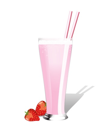 Strawberry milkshake with fresh strawberries on white background. Vector