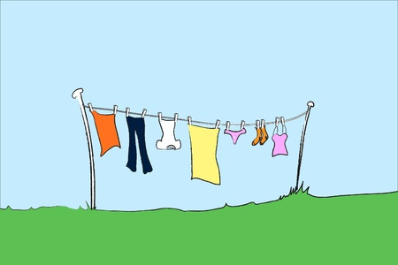 laundry line: illustration of female clothing hanging out to dry