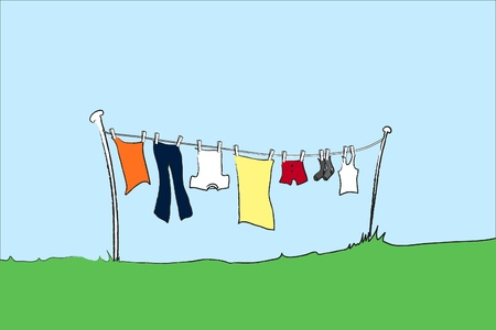 clothes hanging: illustration of mens clothing hanging ut to dry