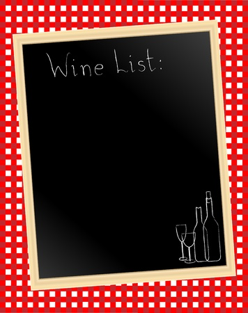 tavern: illustration of a wine list chalkboard on gingham background Illustration