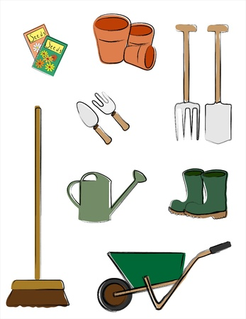 illustration depicting gardening tools isolated on white. Retro style sketch. Vector