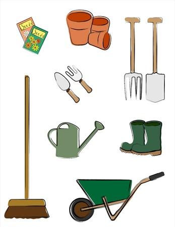 carretilla: ilustraci�n que representa las herramientas de jardiner�a aislados en blanco. Dibujo de estilo retro. Vectores
