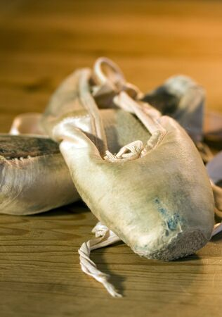 pointe: A pair of worn out ballet shoes