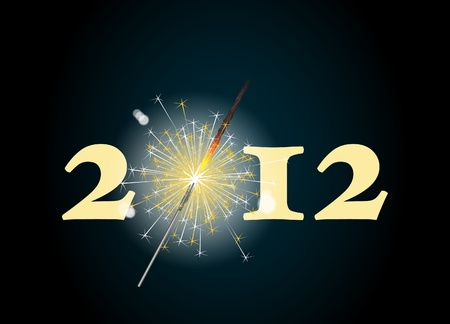 2012 banner with the zero being depicted by a glowing sparkler. Vector