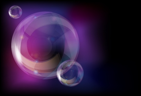 Soap bubbles on abstract background with space for your text.  Vector