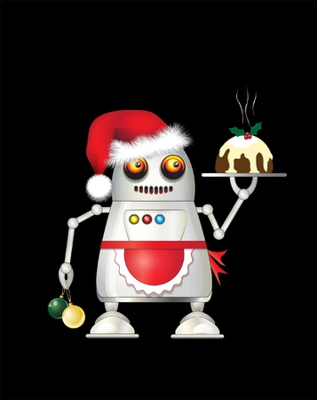 A robot dressed for Christmas and serving Christmas pudding. Isolated on black. Vector