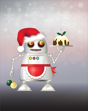food science: A robot dressed for Christmas and serving Christmas pudding.  Illustration