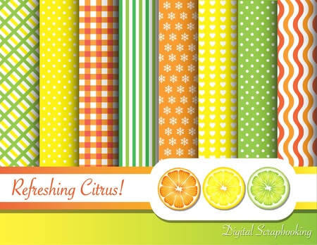 Citrus fruit  digital scrapbooking paper swatches in with ribbon and fruit slices.  Stock Vector - 11151373