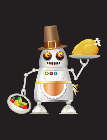 A robot dressed for Thanksgiving and serving turkey dinner, fruit and vegetables. Isolated on black with space for your text.  Vector