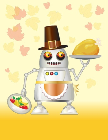 A robot dressed for Thanksgiving and serving turkey dinner, fruit and vegetables.  Stock Vector - 11151390