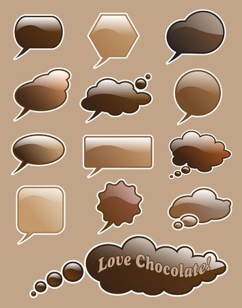 Glossy love chocolate speech and think bubbles with space for your text.  Vector