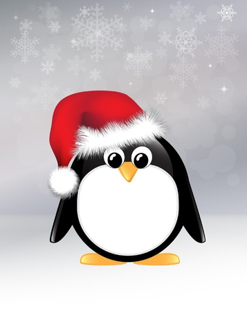 Cartoon penguin on snowflake background.  Vector