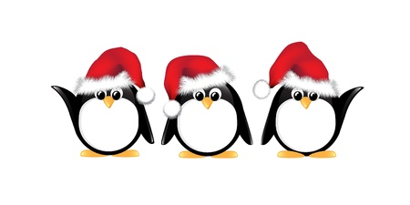 Winter cartoon penguins wearing Santa hats. Isolated on white.  Vector