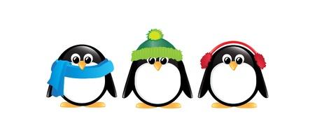 Pingüinos animados de invierno aislados en blanco.