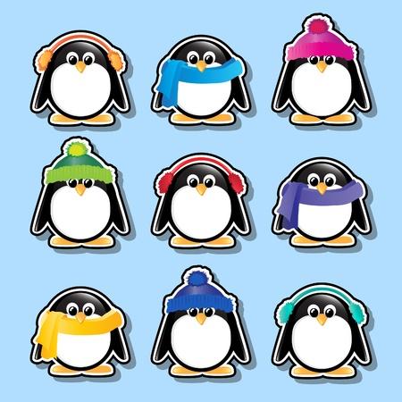 pinguino caricatura: Invierno dibujos animados de pingüinos pegatinas.