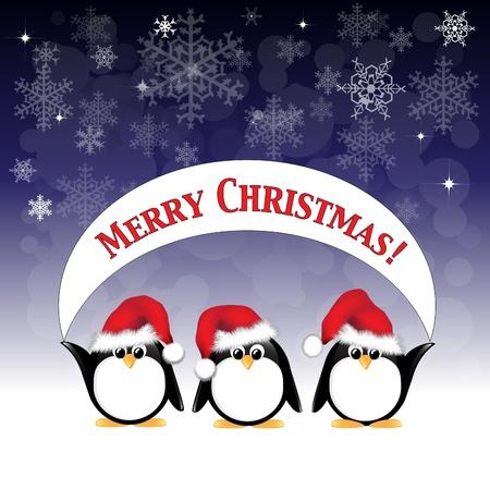 pinguinos navidenos: Ping�inos animados de invierno con sombreros de Santa Claus y sosteniendo una pancarta Feliz Navidad contra un cielo nocturno de las estrellas y los copos de nieve.