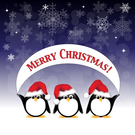 Winter cartoon penguins wearing Santa hats and holding a Merry Christmas banner against a night sky of stars and snowflakes.