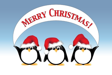 Winter cartoon penguins wearing Santa hats and holding a Merry Christmas banner.