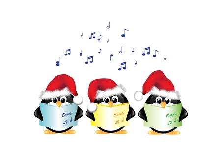 Winter cartoon penguins wearing Santa hats and singing Christmas Carols. Isolated on white.
