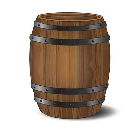 cask: A wooden beer or wine barrel on white background.