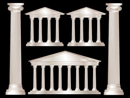 A vector illustration of a classical style white marble temples and pillars. Isolated on black background. EPS10 vector format Vector