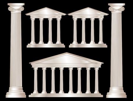 pilastri: Una illustrazione vettoriale di un classico stile templi di marmo bianco e pilastri. Isolato su sfondo nero. EPS10 formato vettoriale Vettoriali