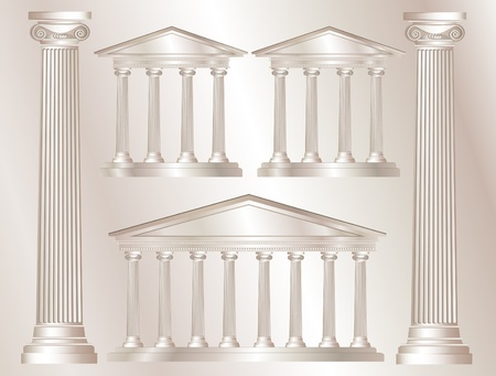 doric: A vector illustration of a classical style white marble temples and pillars. Marble style background. EPS10 vector format Illustration