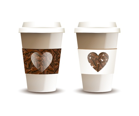 Two takeaway coffee cups with beans and hearts. Love Coffee concept. EPS10 vector format. Vector
